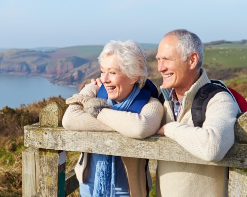 senior couple at scenic view of coast