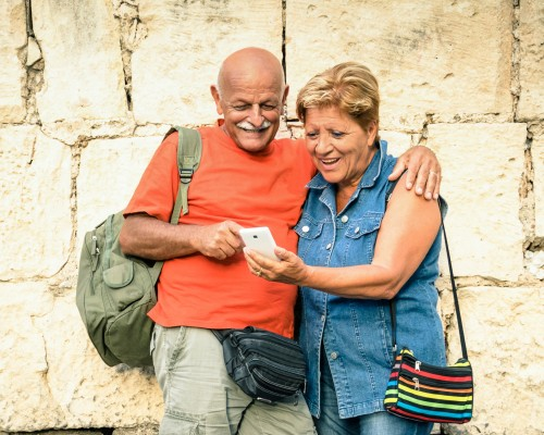 senior couple on vacation in Italy